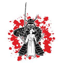 samurai warriors with swords action cartoon vector image