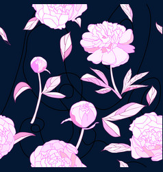 seamless pattern pink peony flowers vector image