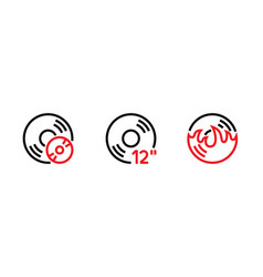 set hot vinyl and cd desk icon editable line vector image