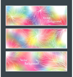 Set of three banners abstract headers with flowers vector image