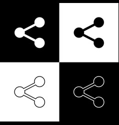 Set share icons isolated on black and white vector
