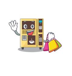 Shopping coffee vending machine with cartoon shape vector