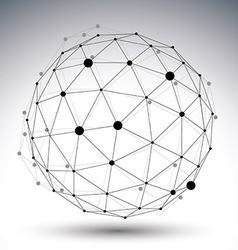 Spherical abstract black and white lined 3D vector