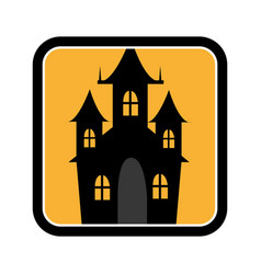 square frame of halloween with scary casttle vector image