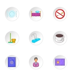 Staying in hotel icons set cartoon style vector