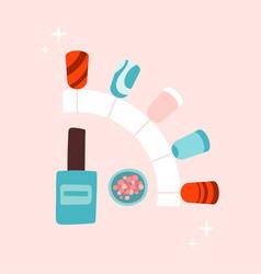 Sticker female manicure polish on pink vector