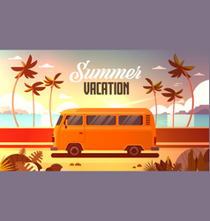 Summer vacation surf bus sunset tropical beach vector