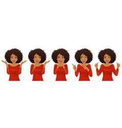 surprised african woman set vector image