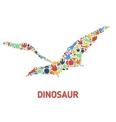 Symbols of dinosaurs and dinosaur footprints vector