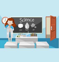 Teacher in science class vector
