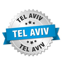 Tel Aviv round silver badge with blue ribbon vector