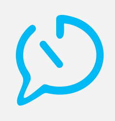 Time chat icon in blue color with straight line vector