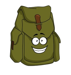 Tourist green canvas rucksack vector