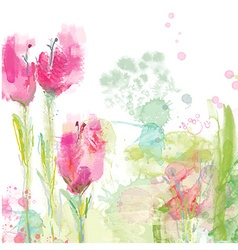 Tulips floral background vector image