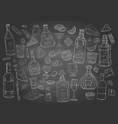 vintage alcohol and drinks on chalboard different vector image