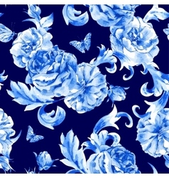 Vintage seamless pattern blue roses and vector