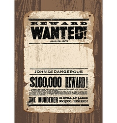 Wanted sign template vector image
