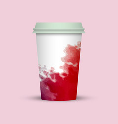 Watercolor coffee cup to go vector