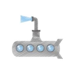 drawing submarine periscope underwater ocean vector image