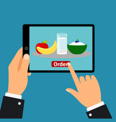 hand holding tablet order food vector image vector image