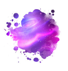 watercolor stain with glowing outer space vector image vector image