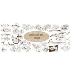 doodle ocean and sea food set vector image