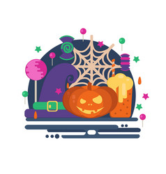 halloween party concept in flat style vector image vector image