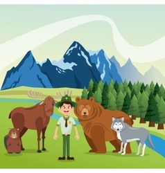 Landscape with forest animals design mountain vector