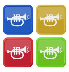 set of four square icons with trumpet vector image vector image