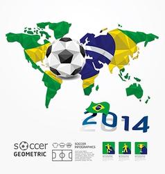 Soccer ball Geometric on Flag of Brazil 2014 vector image vector image