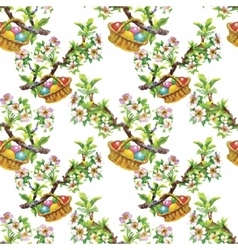 Watercolor seamless easter pattern with colorful vector image