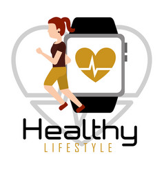 woman running with smartphone heart rate healthy vector image