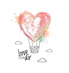 Flying air balloon in form of heart greeting card vector