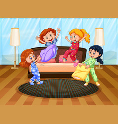 four girls in pajamas playing with pillows vector image vector image