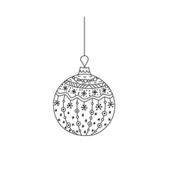 hand drawn christmas ball toy with thread vector image vector image