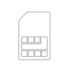 sim card sign black dotted icon on white vector image