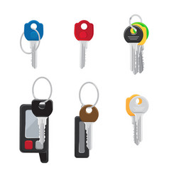six different keys set isolated vector image