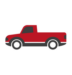 Black and red pick-up truck vector
