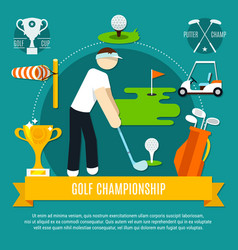 golf competition flat composition vector image vector image