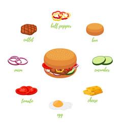 hamburger menu with different ingredients vector image
