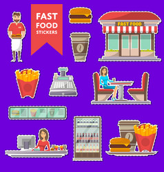 street fast food cafe labels set in flat style vector image vector image