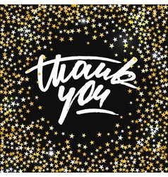 Thank you card with scattered shiny golden stars vector image