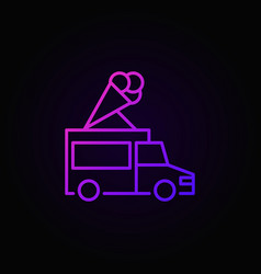 truck with ice cream colored outline icon vector image vector image