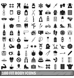 100 fit body icons set simple style vector