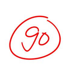 90 test score ninety exam results vector