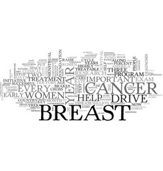 A year drive to put the brakes on breast cancer vector