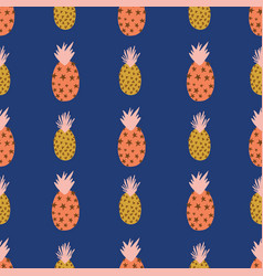 abstract pineapples pink orange gold on blue vector image