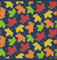 autumn pattern with falling maple leaves vector image