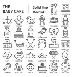 baby line signed icon set toy symbols collection vector image