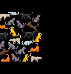 background with stylized cats in various poses vector image